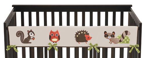 Forest Friends Baby Crib Long Rail Guard Cover by Sweet Jojo Designs - Click to enlarge