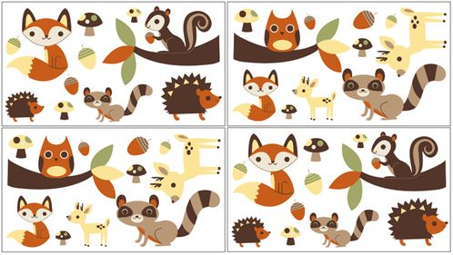 Forest Friends Peel and Stick Wall Decal Stickers Art Nursery Decor by Sweet Jojo Designs - Set of 4 Sheets - Click to enlarge