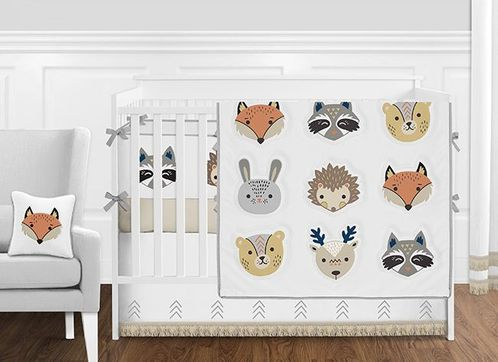 Forest Woodland Animals Baby Girl or Boy Nursery Crib Bedding Set with Bumper by Sweet Jojo Designs - 9 pieces - Boho Fox Deer Bear Bunny - Click to enlarge