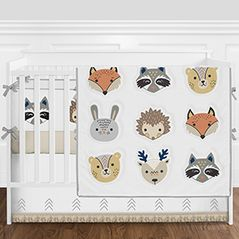 Forest Woodland Animals Baby Girl or Boy Nursery Crib Bedding Set with Bumper by Sweet Jojo Designs - 9 pieces - Boho Fox Deer Bear Bunny