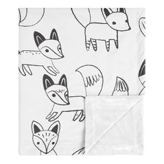 Fox Baby Boy or Girl Receiving Security Swaddle Blanket for Newborn or Toddler Nursery Car Seat Stroller Soft Minky by Sweet Jojo Designs - Black and White