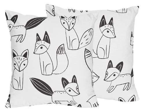Fox Print Decorative Accent Throw Pillows for Black and White Fox Collection - Set of 2 - Click to enlarge