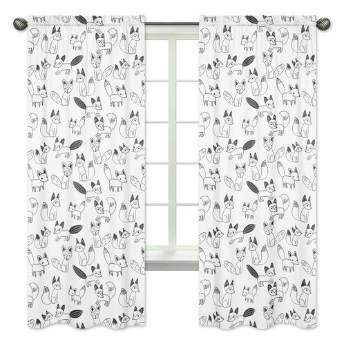 Fox Print Window Treatment Panels for Black and White Fox Collection by Sweet Jojo Designs - Set of 2 - Click to enlarge