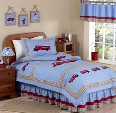 Frankie's Firetruck Childrens Bedding - 4 pc Twin Set