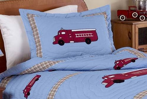Frankie's Firetruck Pillow Sham - Click to enlarge
