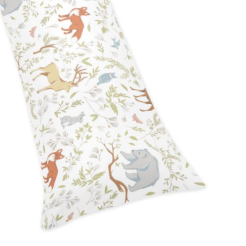 Full Length Double Zippered Body Pillow Case Cover for Woodland Animal Toile Bedding Collection by Sweet Jojo Designs - Click to enlarge