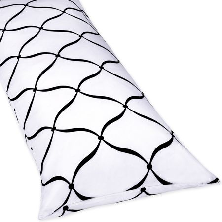Full Length Double Zippered Body Pillow Cover for Purple, Black and White Princess Bedding Set - Click to enlarge