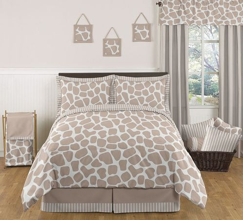Giraffe Neutral Childrens Bedding - 3 pc Full / Queen Set by Sweet Jojo Designs - Click to enlarge