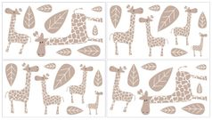 Giraffe Peel and Stick Wall Decal Stickers Art Nursery Decor by Sweet Jojo Designs - Set of 4 Sheets