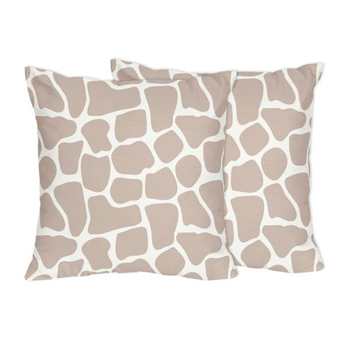 Giraffe Print Decorative Accent Throw Pillows by Sweet Jojo Designs - Set of 2 - Click to enlarge
