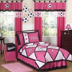 Girls Soccer Childrens Bedding - 4 pc Twin Set