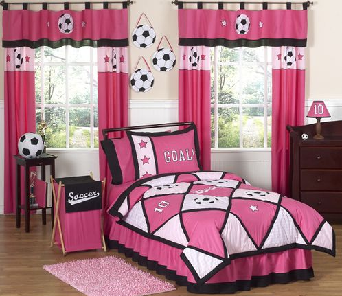 Girls Soccer Childrens Bedding - 4 pc Twin Set - Click to enlarge