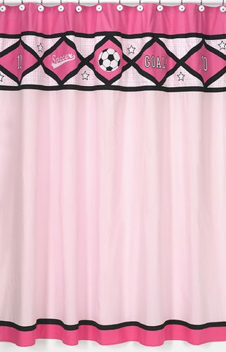 Girls Soccer Kids Bathroom Fabric Bath Shower Curtain - Click to enlarge