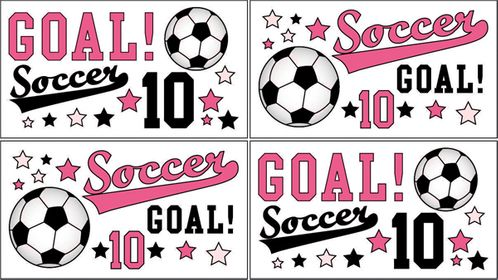 Girls Soccer Peel and Stick Wall Decal Stickers Art Nursery Decor by Sweet Jojo Designs - Set of 4 Sheets - Click to enlarge