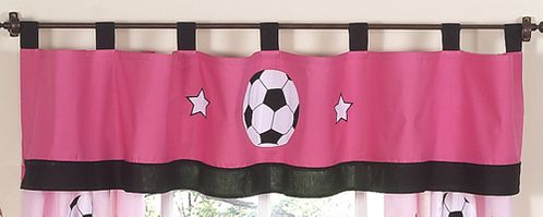 Girls Soccer Window Valance by Sweet Jojo Designs - Click to enlarge