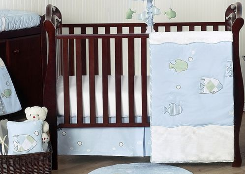 Go Fish Ocean Baby Bedding - 11pc Crib Set - Click to enlarge