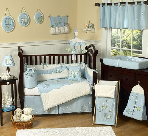 Go Fish Ocean Baby Bedding - 9 pc Crib Set - Click to enlarge