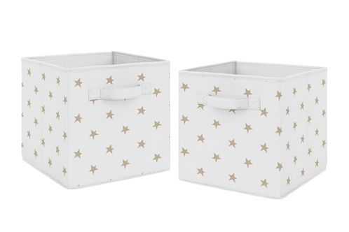 Gold and White Celestial Star Foldable Fabric Storage Cube Bins Boxes Organizer Toys Kids Baby Childrens by Sweet Jojo Designs - Set of 2 - Click to enlarge