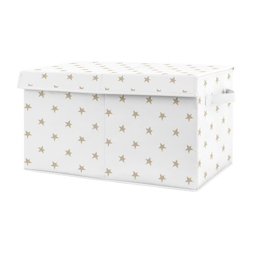Gold and White Celestial Star Girl Small Fabric Toy Bin Storage Box Chest For Baby Nursery or Kids Room by Sweet Jojo Designs - Click to enlarge
