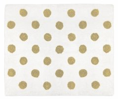 Gold and White Polka Dot Accent Floor Rug or Bath Mat for Peach Watercolor Floral Collection by Sweet Jojo Designs
