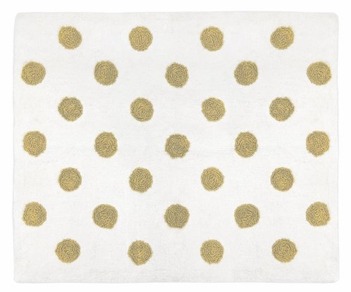 Gold and White Polka Dot Accent Floor Rug or Bath Mat for Turquoise Watercolor Floral Collection by Sweet Jojo Designs - Click to enlarge