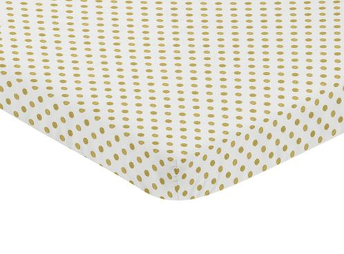 Gold and White Polka Dot Baby Fitted Mini Portable Crib Sheet for Amelia Collection by Sweet Jojo Designs - Click to enlarge
