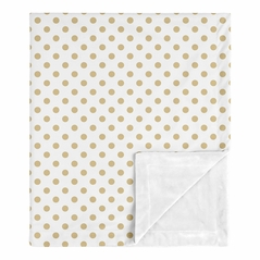 Gold and White Polka Dot Baby Girl Blanket Receiving Security Swaddle for Newborn or Toddler Nursery Car Seat Stroller Soft Minky by Sweet Jojo Designs - for the Peach, Pink and Green Shabby Chic Boho Watercolor Floral Rose Flower Collection