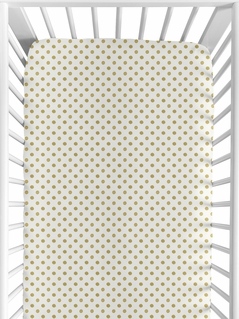 Gold and White Polka Dot Baby or Toddler Fitted Crib Sheet for Butterfly Floral Collection by Sweet Jojo Designs