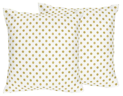 Gold and White Polka Dot Decorative Accent Throw Pillows for Amelia Bedding by Sweet Jojo Designs - Set of 2 - Click to enlarge