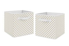 Gold and White Polka Dot Foldable Fabric Storage Cube Bins Boxes Organizer Toys Kids Baby Childrens by Sweet Jojo Designs - Set of 2 - for the Watercolor Floral and Big Bear Collections