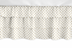 Gold and White Polka Dot Girl Ruffled Tiered Baby Crib Bed Skirt Dust Ruffle for Watercolor Floral Collection by Sweet Jojo Designs