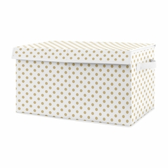 Gold and White Polka Dot Girl Small Fabric Toy Bin Storage Box Chest For Baby Nursery or Kids Room by Sweet Jojo Designs -for the Peach, Pink and Green Shabby Chic Boho Watercolor Floral Rose Flower Collection