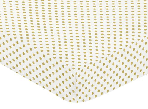 Gold and White Polka Dot Print Baby or Toddler Fitted Crib Sheet for Big Bear Collection - Click to enlarge