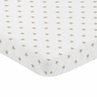 Gold and White Star Baby Fitted Mini Portable Crib Sheet for Celestial Collection by Sweet Jojo Designs