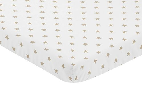 Gold and White Star Baby Fitted Mini Portable Crib Sheet for Celestial Collection by Sweet Jojo Designs - Click to enlarge
