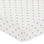Gold and White Star Baby or Toddler Fitted Crib Sheet for Celestial Collection by Sweet Jojo Designs