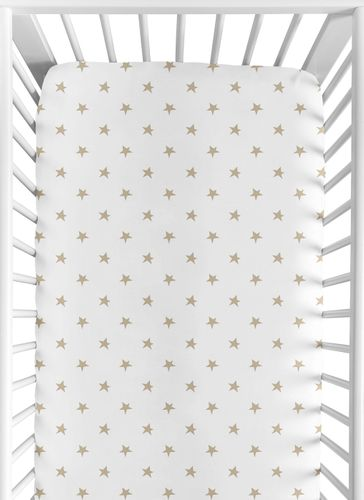 Gold and White Star Baby or Toddler Fitted Crib Sheet for Celestial Collection by Sweet Jojo Designs - Click to enlarge