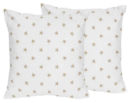 Gold and White Star Decorative Accent Throw Pillows for Celestial Collection by Sweet Jojo Designs - Set of 2 - Click to enlarge
