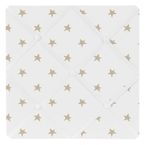 Gold and White Star Fabric Memory Memo Photo Bulletin Board for Celestial Collection by Sweet Jojo Designs - Click to enlarge