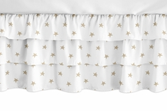 Gold and White Star Girl Ruffled Tiered Baby Crib Bed Skirt Dust Ruffle for Celestial Collection by Sweet Jojo Designs