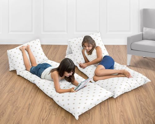 Gold and White Star Kids Floor Pillow Case Lounger Cushion Cover for Celestial Collection by Sweet Jojo Designs (Pillows Not Included) - Click to enlarge