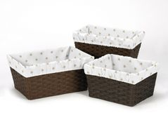 Gold and White Star One Size Fits Most Basket Liners for Celestial Collection by Sweet Jojo Designs - Set of 3