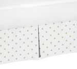 Gold and White Star Pleated Queen Bed Skirt Dust Ruffle for Celestial Collection by Sweet Jojo Designs