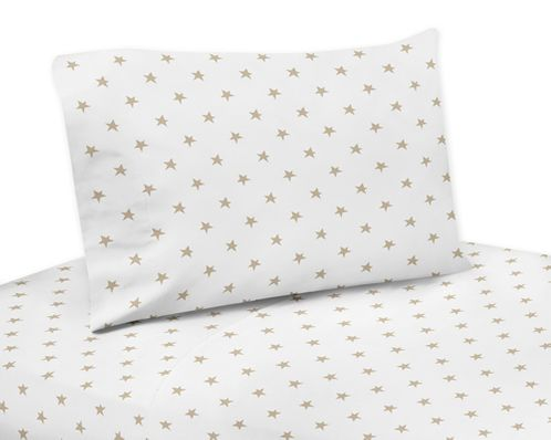 Gold and White Star Queen Sheet Set for Celestial Collection by Sweet Jojo Designs - 4 piece set - Click to enlarge