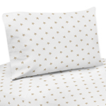 Gold and White Star Twin Sheet Set for Celestial Collection by Sweet Jojo Designs - 3 piece set