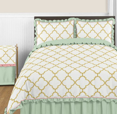 Gold Mint Coral And White Ava 3pc Full Queen Girl Teen Bedding Set Only 49 40