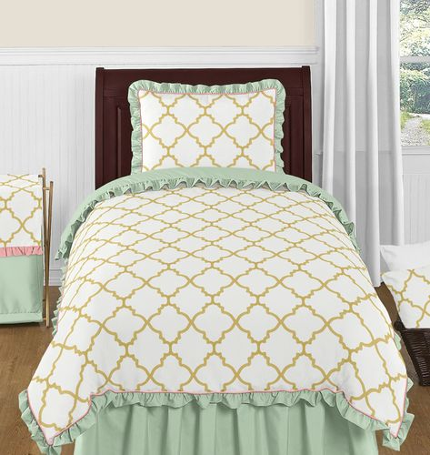 Gold, Mint, Coral and White Ava 4pc Twin Girls Childrens Bedding Set - Click to enlarge