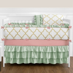 Gold, Mint, Coral and White Ava Baby Bedding - 9pc Girls Crib Set