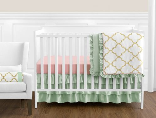 Gold, Mint, Coral and White Ava Baby Girl Bedding - 11pc Crib Set - Click to enlarge