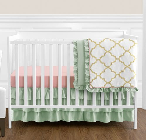 Gold, Mint, Coral and White Ava Baby Girl Bedding - 4pc Crib Set - Click to enlarge